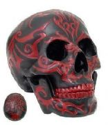 Black Skull With Red Tribal Design Figurine Ornament
